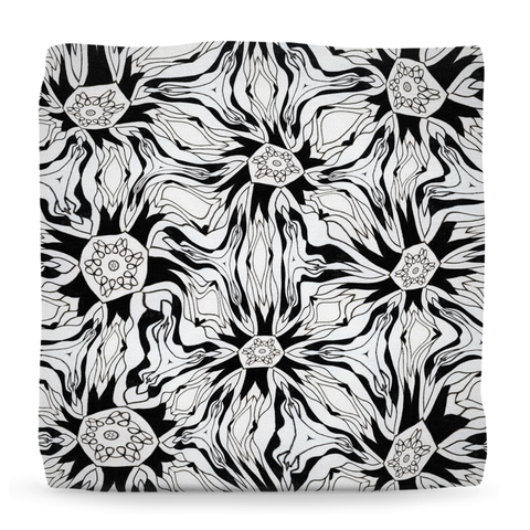'Tripping Daisy' Ottomans in Black and White