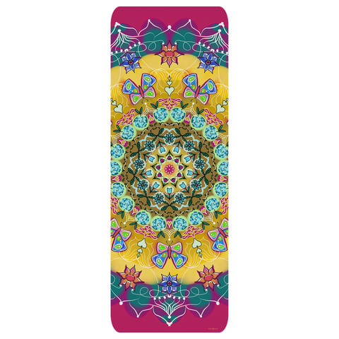 Yoga Mat in 'Butterfly Mandala' Design
