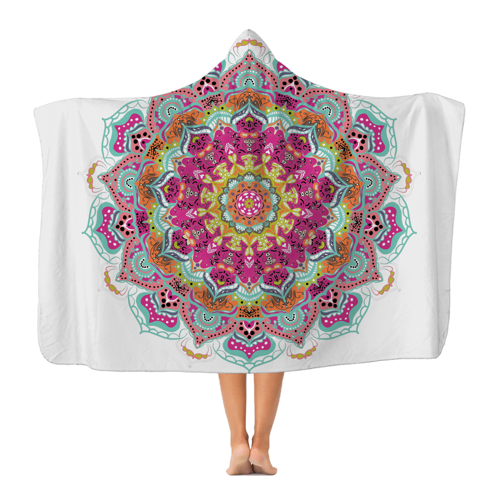 Mandala 21 in Turquoise Premium Adult Hooded Blanket