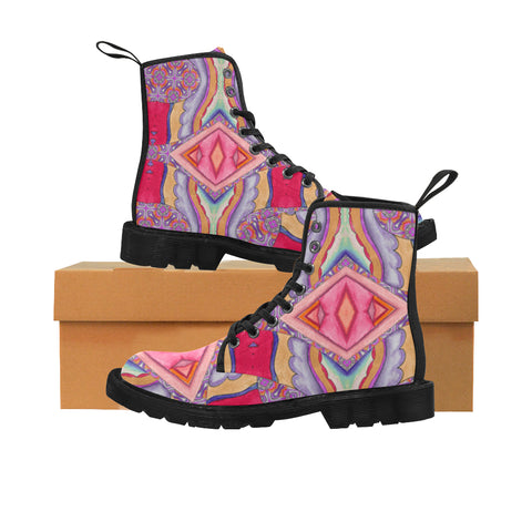 Women's Lace Up Canvas Boots in Fiesta Design