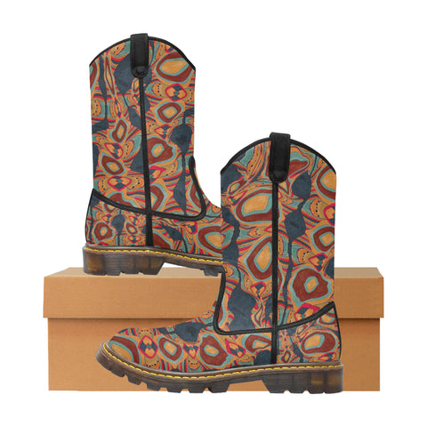 Western Women's Boot in 'Retrolicious Earth' Pattern
