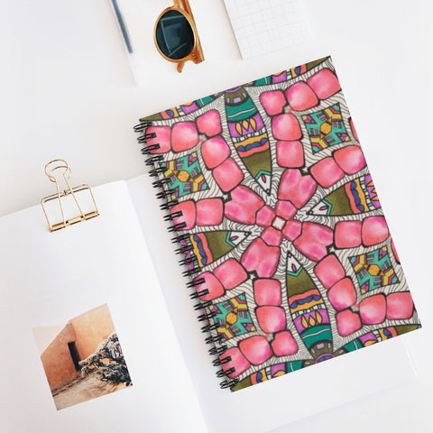 Pattern Cover on Spiral Notebook - 118 Ruled Line Pages 6x8 inch