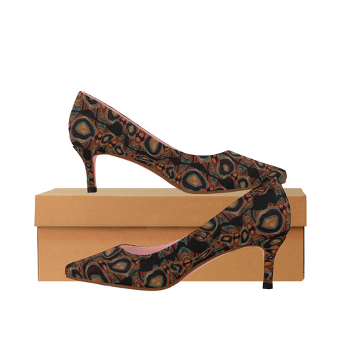 'Autumn Groove' Women's Low Kitten Heel Pumps by Leah Quinn Design