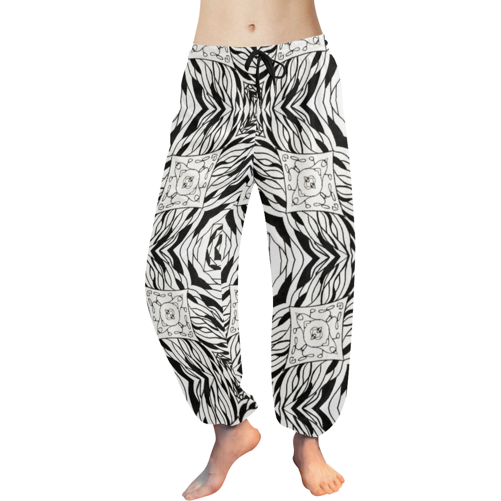 "Harem Pants in ""Black & White Geometric"" Design by Leah Quinn"