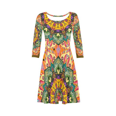 'Mandala Number 23' 3/4 Sleeved Dress