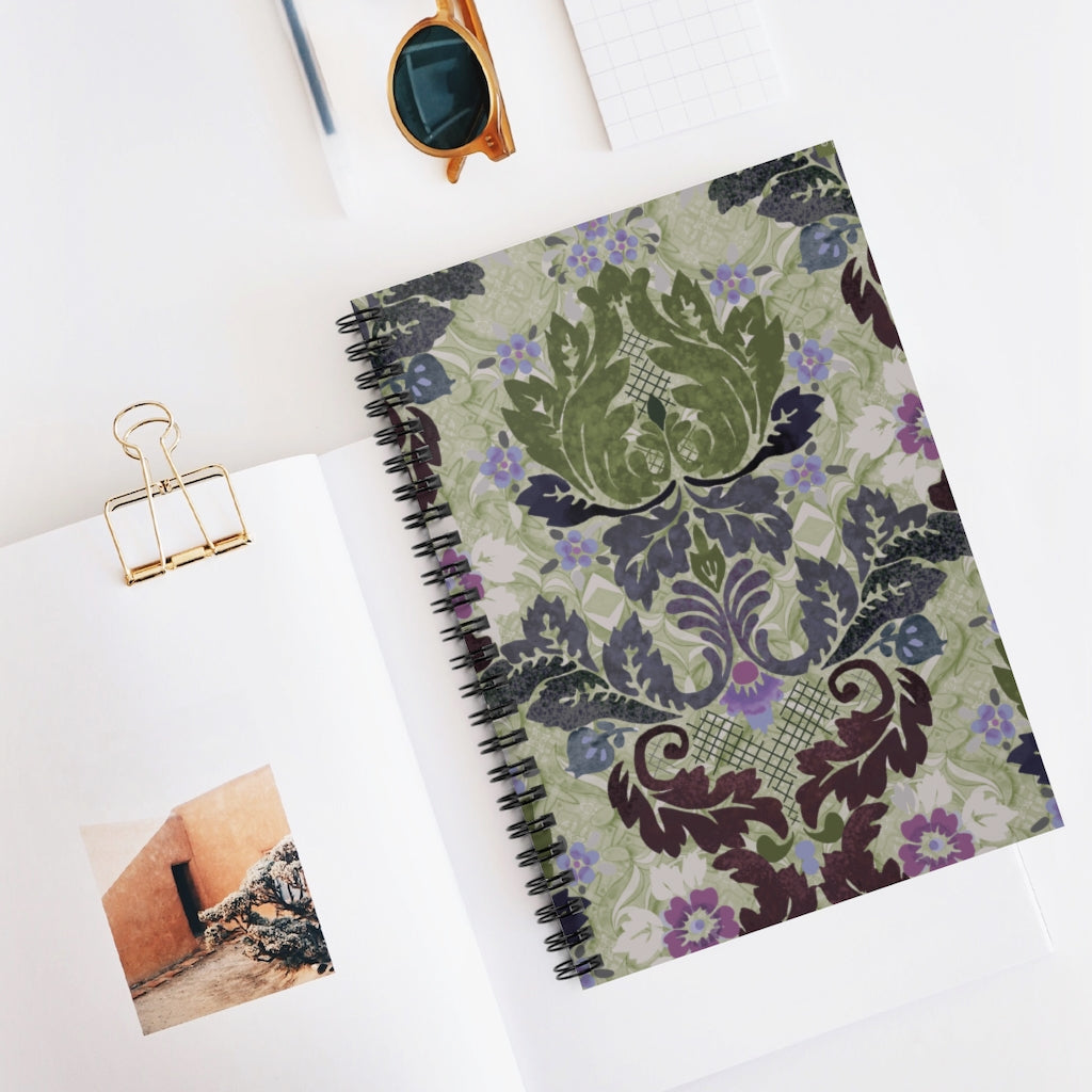 Victorian Boheme Wallpaper in Sage Spiral Notebook - 128 Ruled Lined Pages Journal 6x8 inch by Leah Quinn