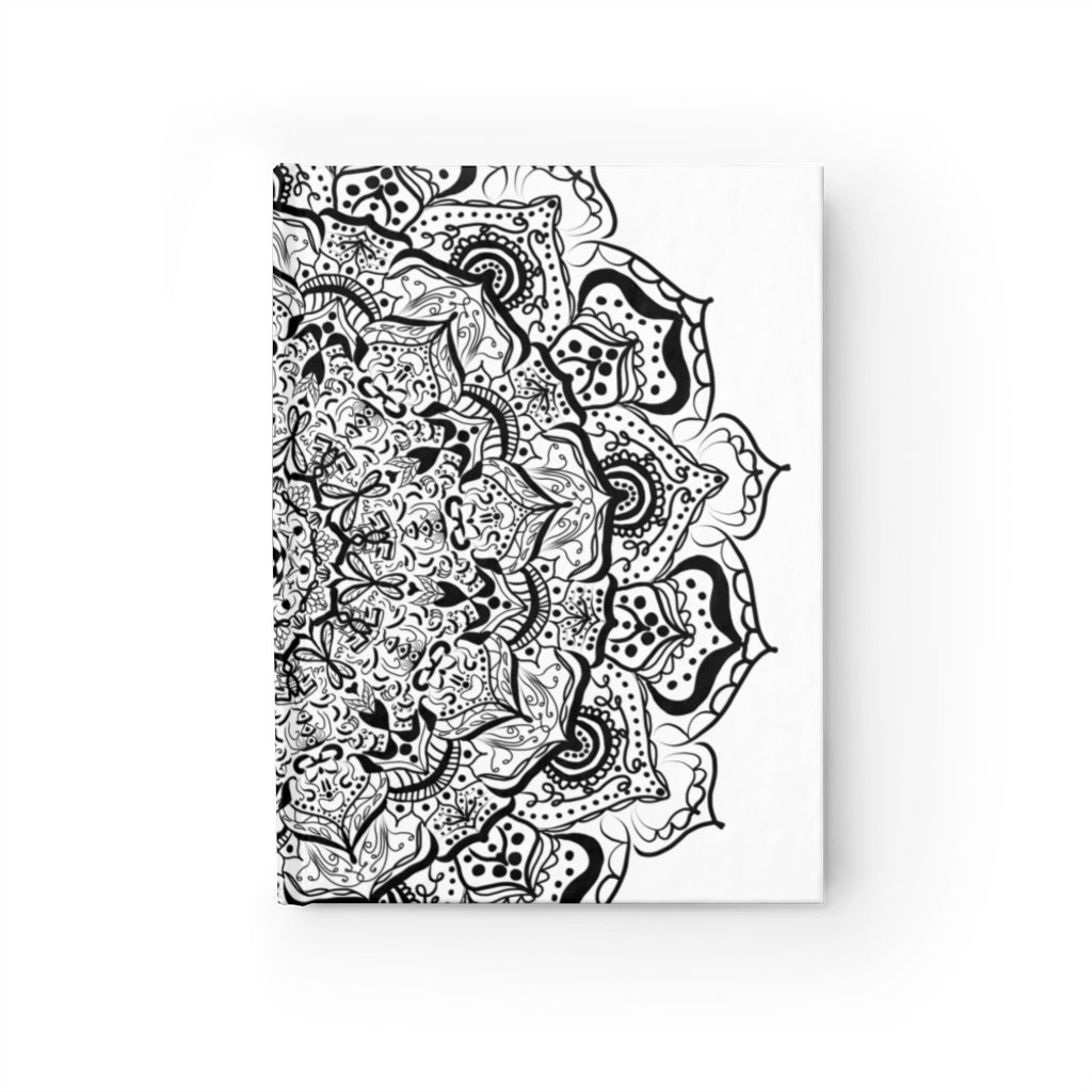 Mandala 21 in Black and White Hardcover Journal - with 128 Blank Pages 5x7.25 inch