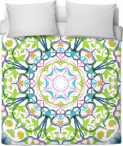 Ginko Mandala Love Duvet Cover by Leah Quinn Design