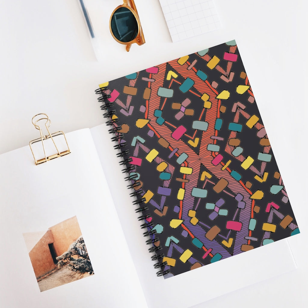 the Fanciful Design Cover on Spiral Notebook - 128 Ruled Line Pages 6x8 inch