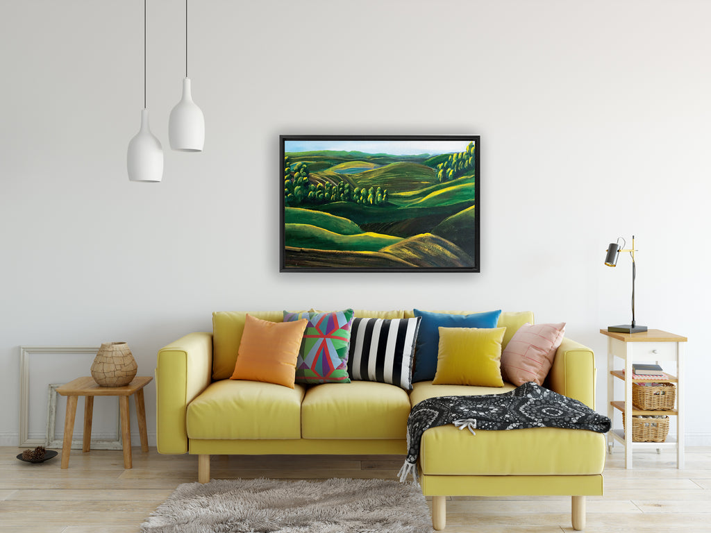 'Sunrise on the Mountains'  - Art by Leah Quinn Printed on Canvas  & Framed