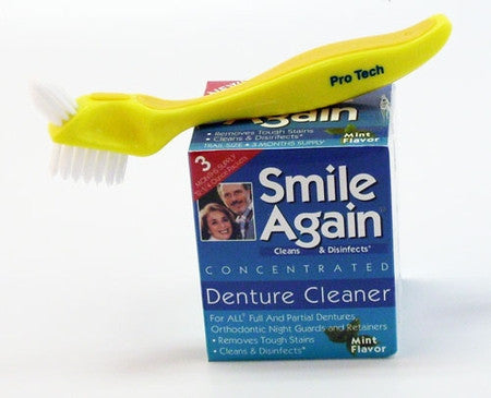 smile again denture cleaner and brush