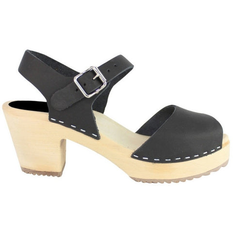 'Raquel' Highwood Open Swedish Clogs - Black