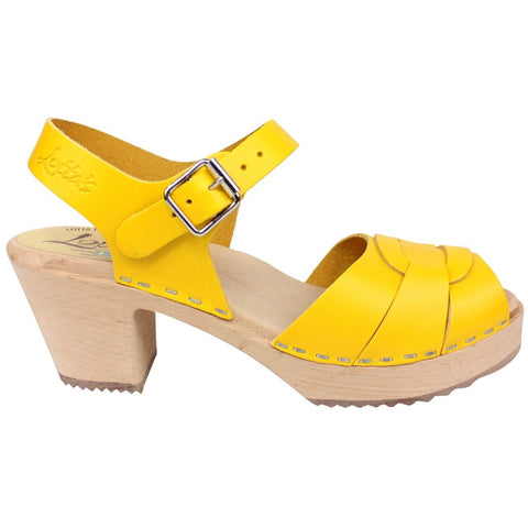 'Marlene' Peep Toe Clogs - Summer Yellow
