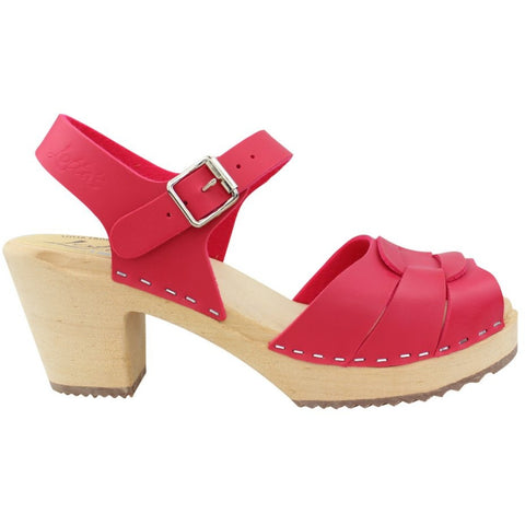 'Olivia' VEGAN Peep Toe Clogs - Raspberry Pink