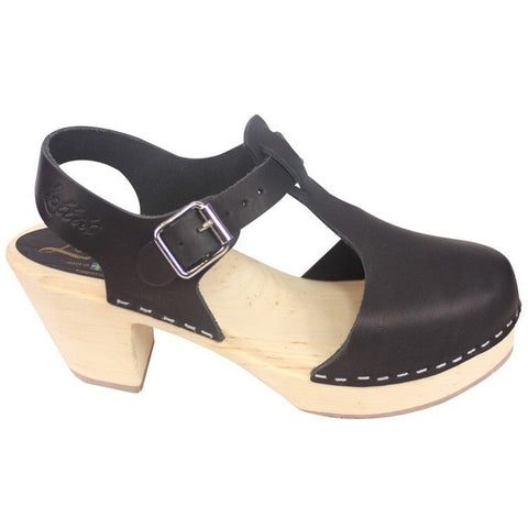 'Carrie' Highwood T-Bar Swedish Clogs - Black