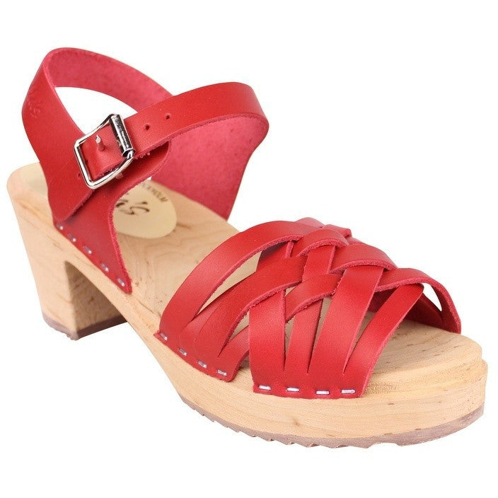 'Farrah' Braided Clogs - Red