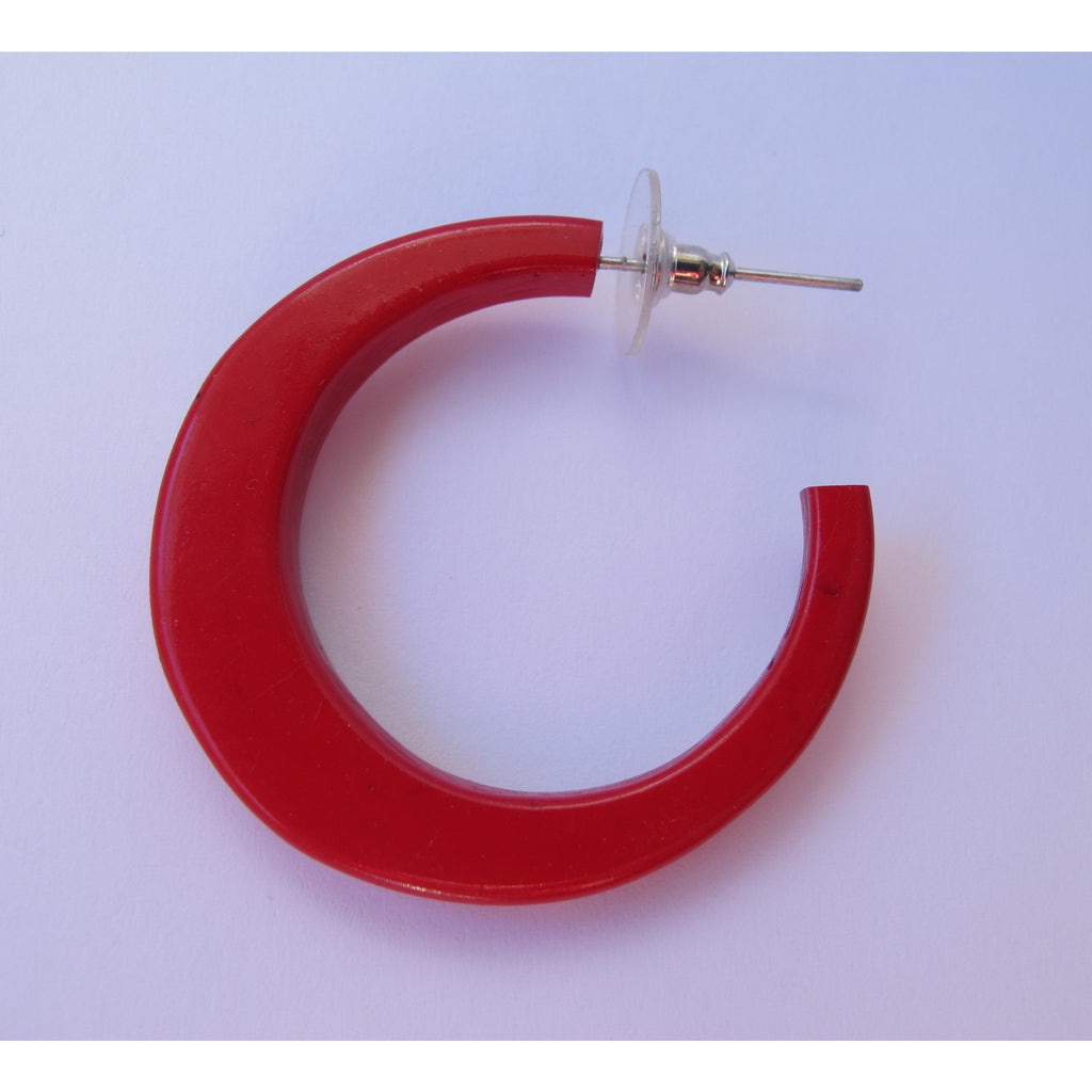 Carved Hoop Earrings - Red