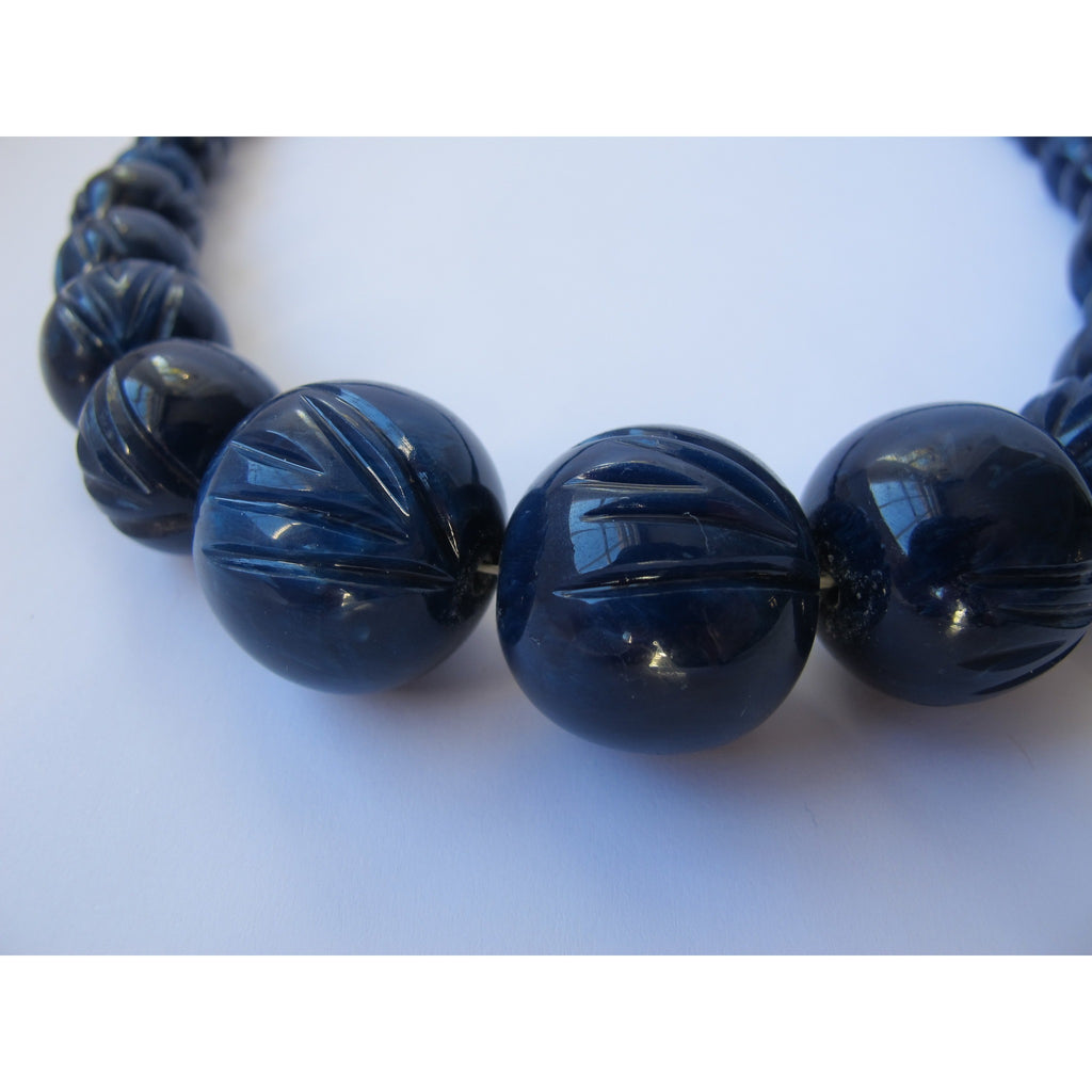 Carved Fakelite Navy Blue Necklace