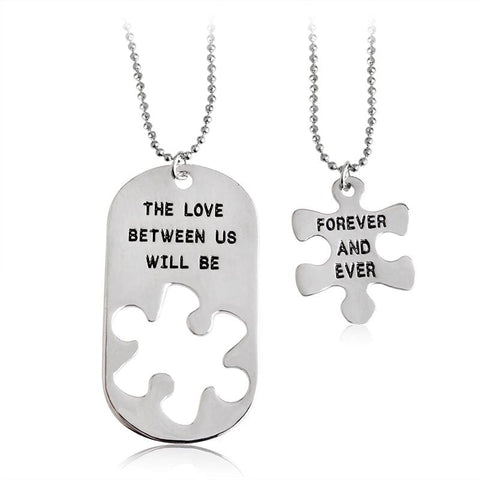 2Pcs Pendant - THE LOVE BETWEEN US WILL BE FOREVER AND EVER