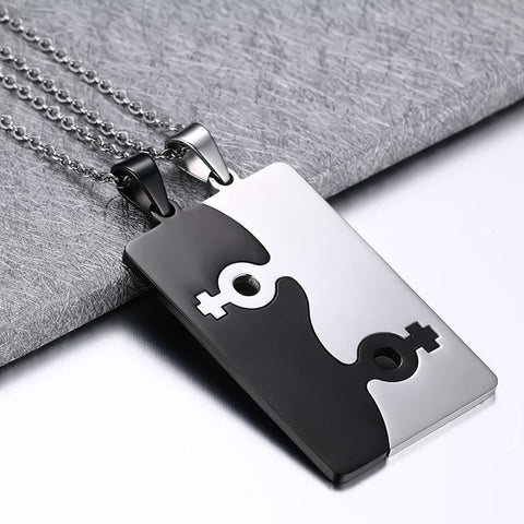 2Pcs Stainless Steel Necklace - Female Symbol