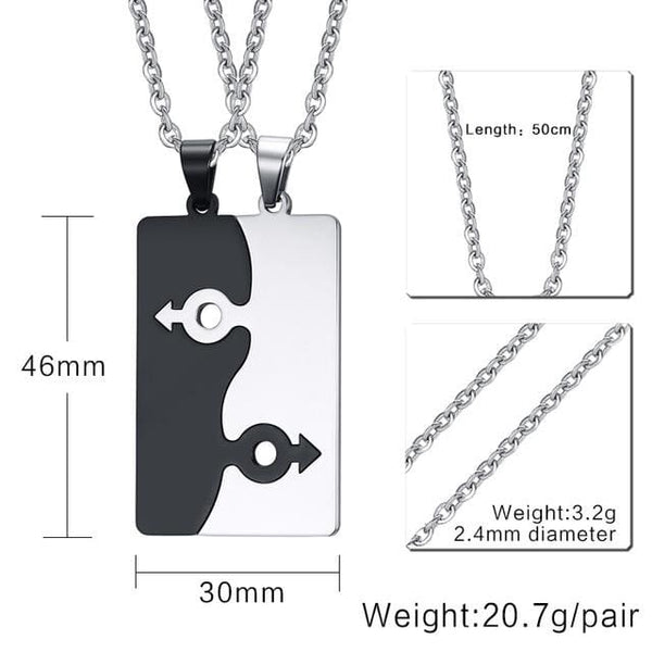 2Pcs Stainless Steel Necklace - Male Symbol 50Cm Chain