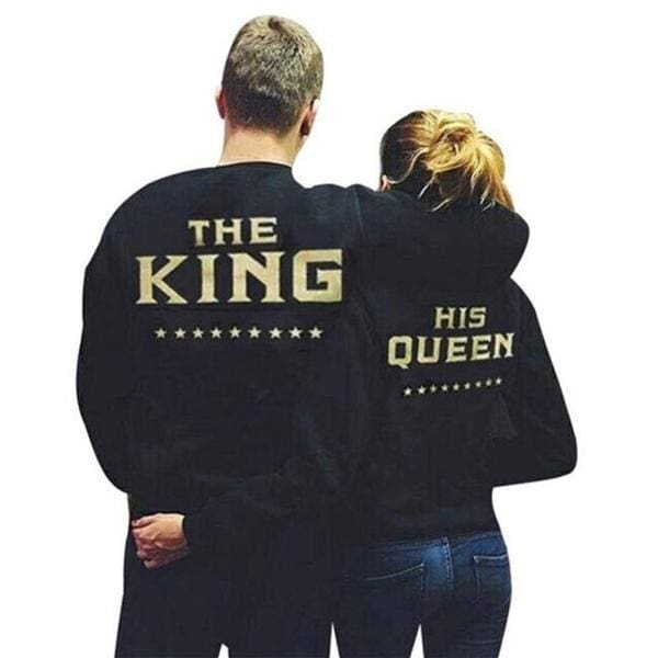 Couples 2019 Gold KING QUEEN Sweatshirts