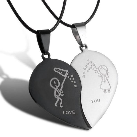 Couples Broken Heart Necklace Pair