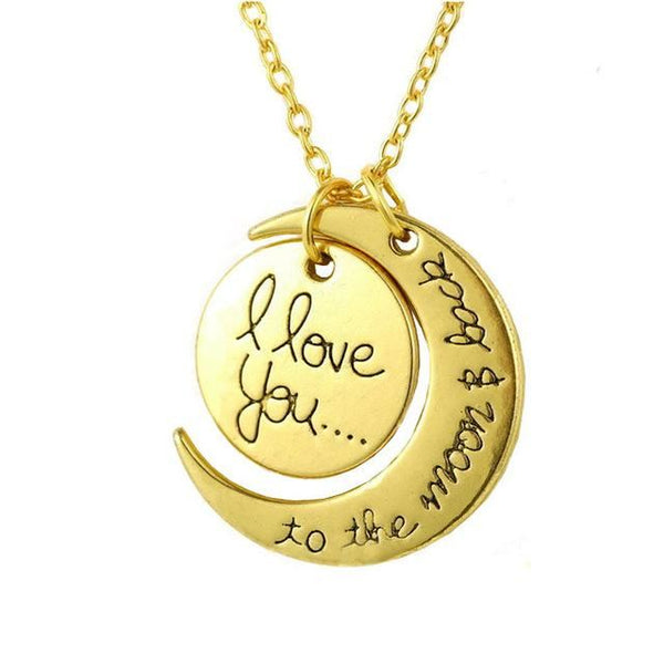 I Love You To The Moon And Back - Silver Couples Necklace Gold