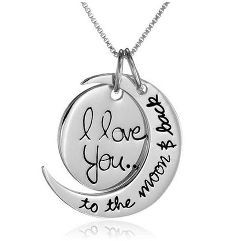 I Love You To The Moon And Back - Silver Couples Necklace Silver