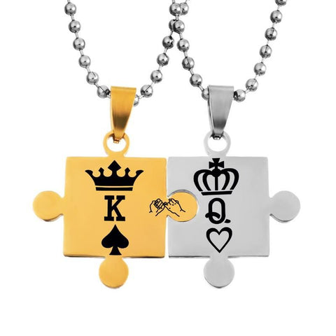 Necklaces With Engraved Puzzle Pattern