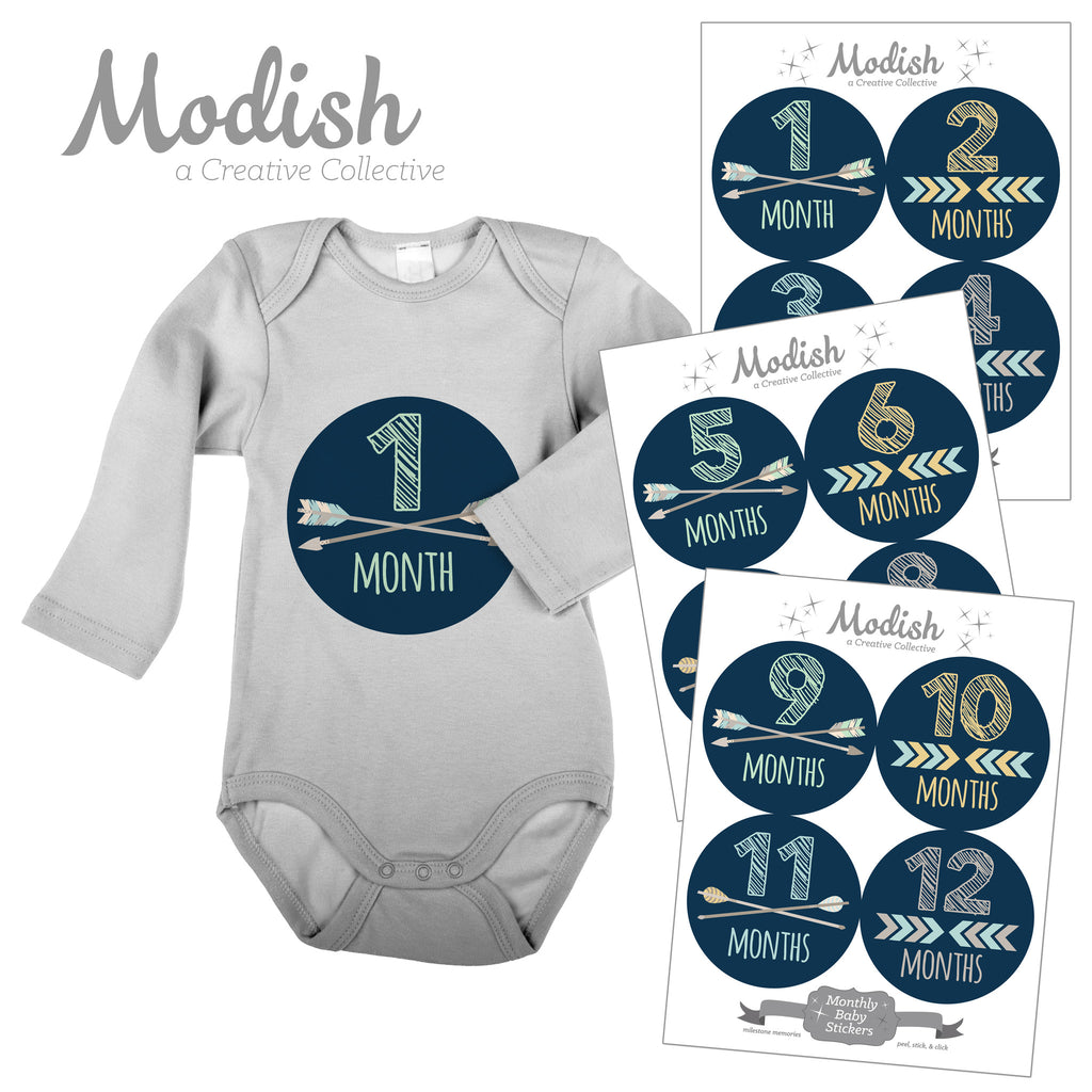 monthly baby stickers boy modish labels
