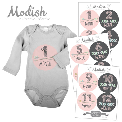 monthly baby stickers girl modish labels