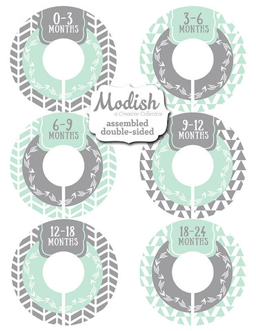picture regarding Free Printable Closet Dividers titled Tribal Arrows Mint Grey Closet Dividers - Assembled
