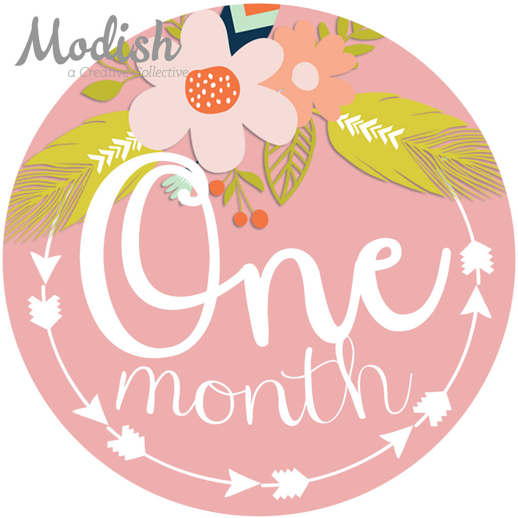 Tribal Flowers Baby Month Stickers Feathers Arrows Baby