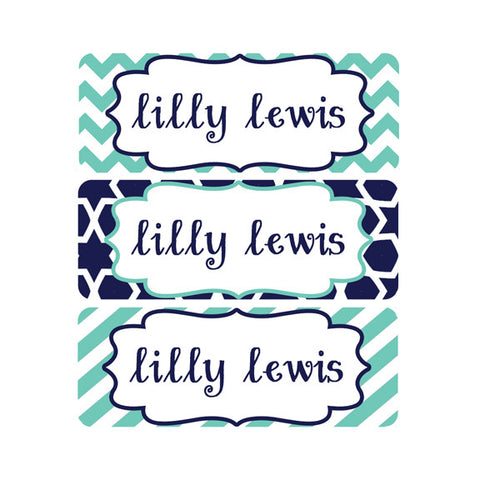 school name tags gender neutral name labels navy teal chevron