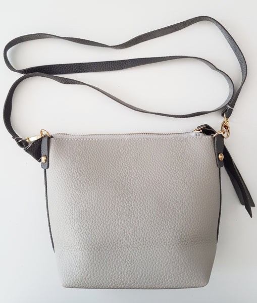 Soft artificial leather cross-body and shoulder bag (Grey / Dark grey)