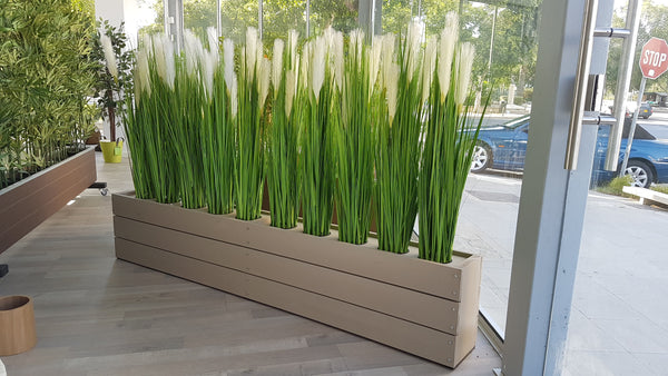 Artificial River Grass with White Flowers (Height: 100cm) - 160N011A