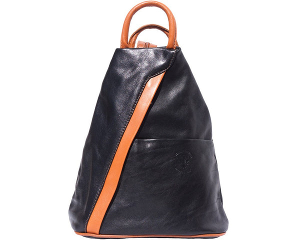 Backpack purse and shoulder bag with many pockets in genuine leather-2061