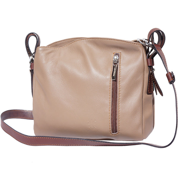 "Leather cross body bag "" Viviana"" with zippered divisors-B016"