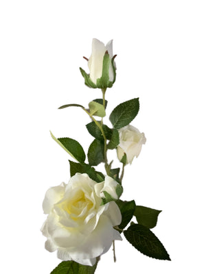Artificial white rose flower branch (78cm) | FLR0002
