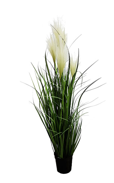 Artificial River Grass with white flower (100cm) - 10020
