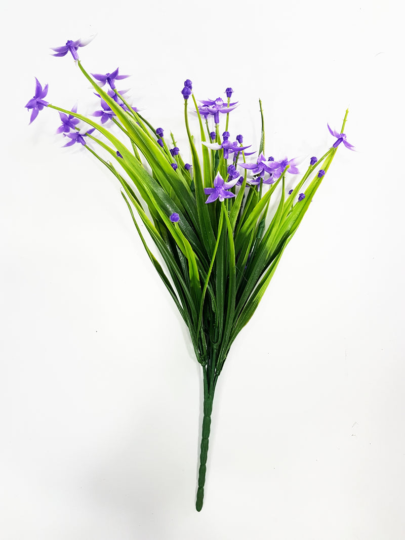 Artificial small purple jasmine flower branch (Length: 35cm) - With UV protection | G0680D019