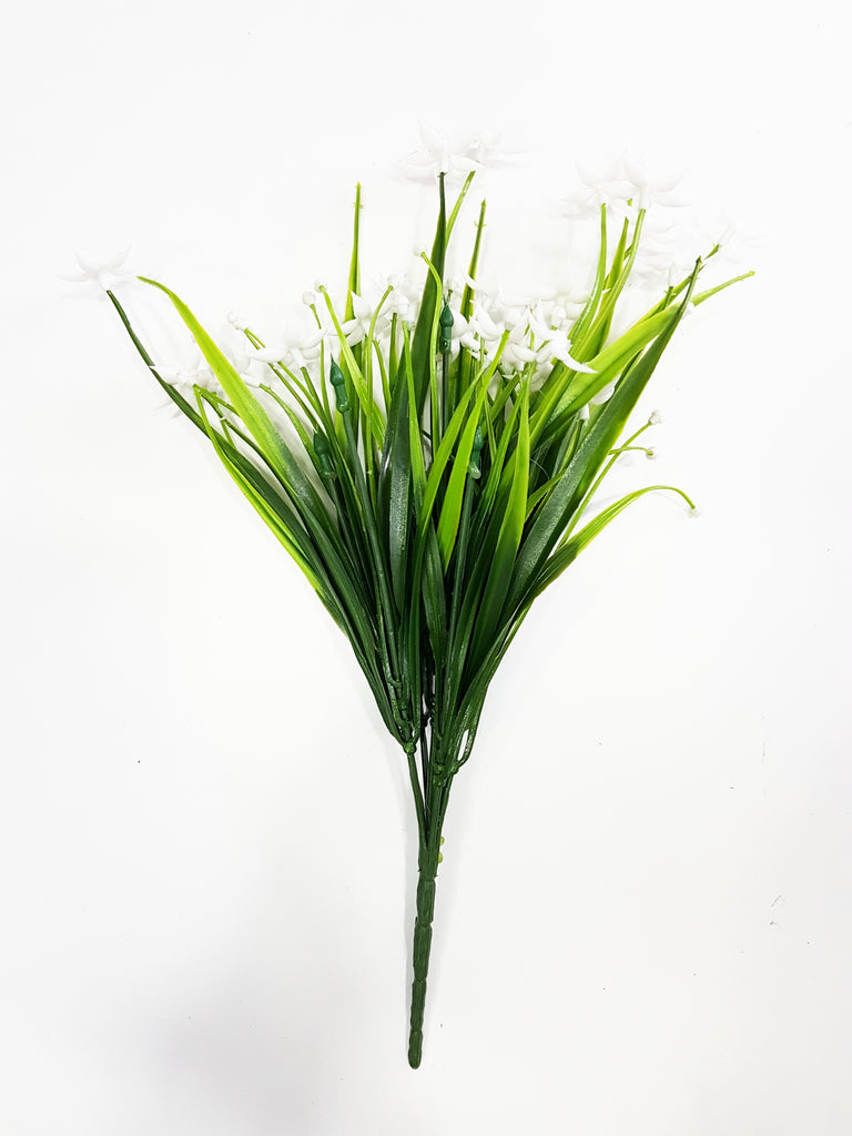 Artificial small orchid flower branch - G0680D019 white (Length: 35cm)