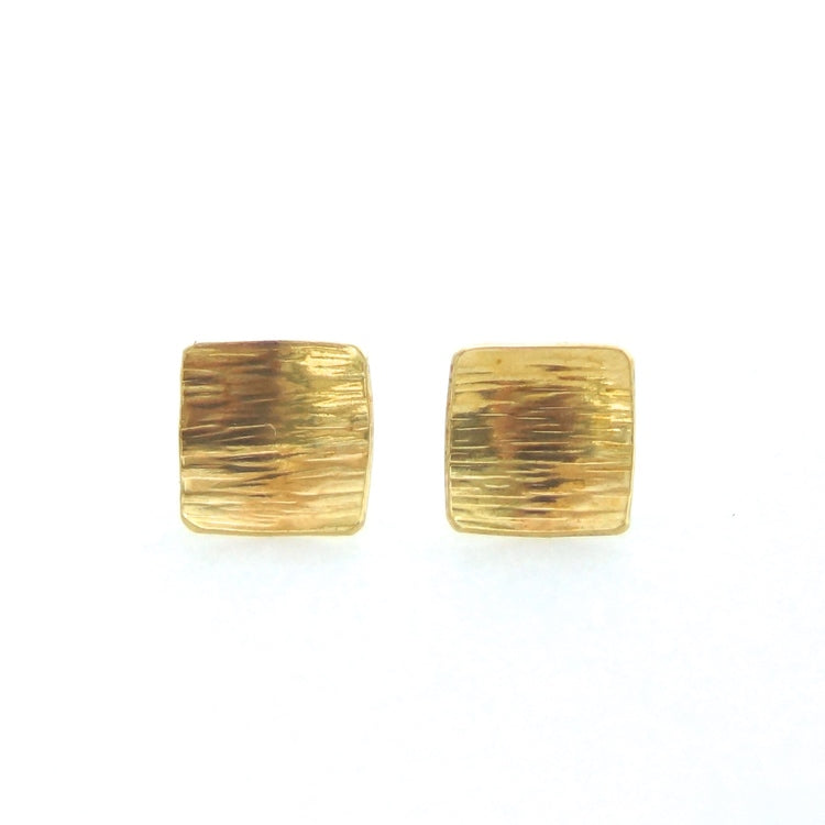 Brass Bark Stud Earrings