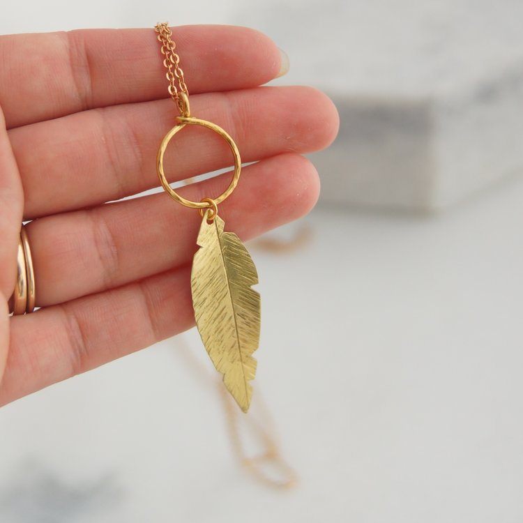 Feather on a Ring Necklace
