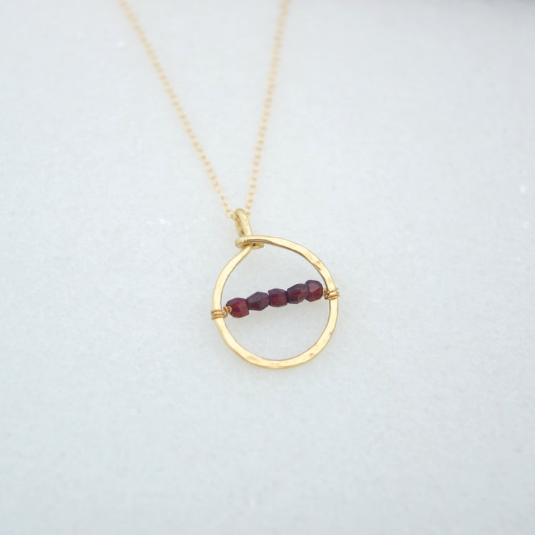 Brass Ring and Vintage Garnet Necklace