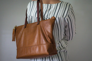 Leather Ashlyn Zippered Tote Bag