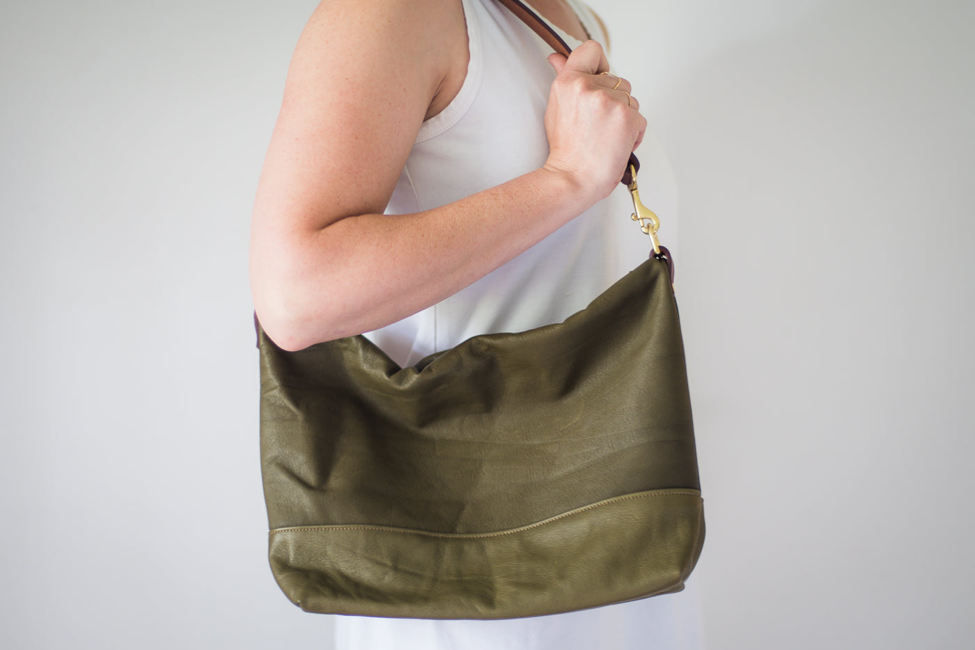 Leather Hobo Shoulder Bag