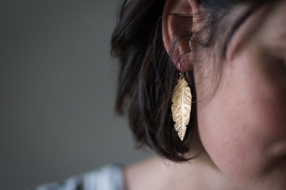 Hand Textured Feather Earrings