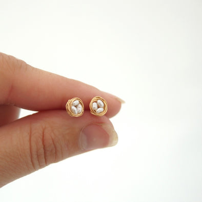 Bird's Nest Stud Earrings